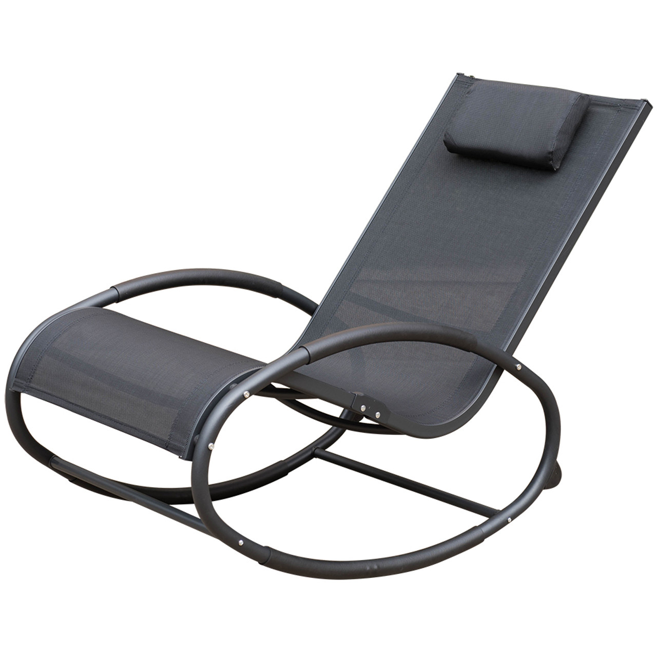 Zero Gravity Outdoor Lounge Chair Patio Garden Pool Zero Gravity Orbital Rocking Lounge Chair With Aluninum Frame And Pillow Capacity 250 Lbs Black