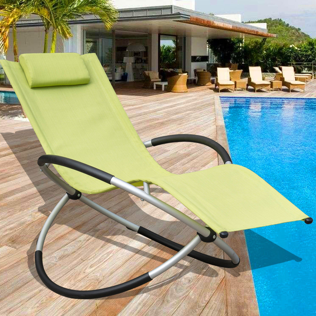 Outside Lounge Chairs Orbital Zero Gravity Folding Rocking Patio Lounge Chair With Pillow