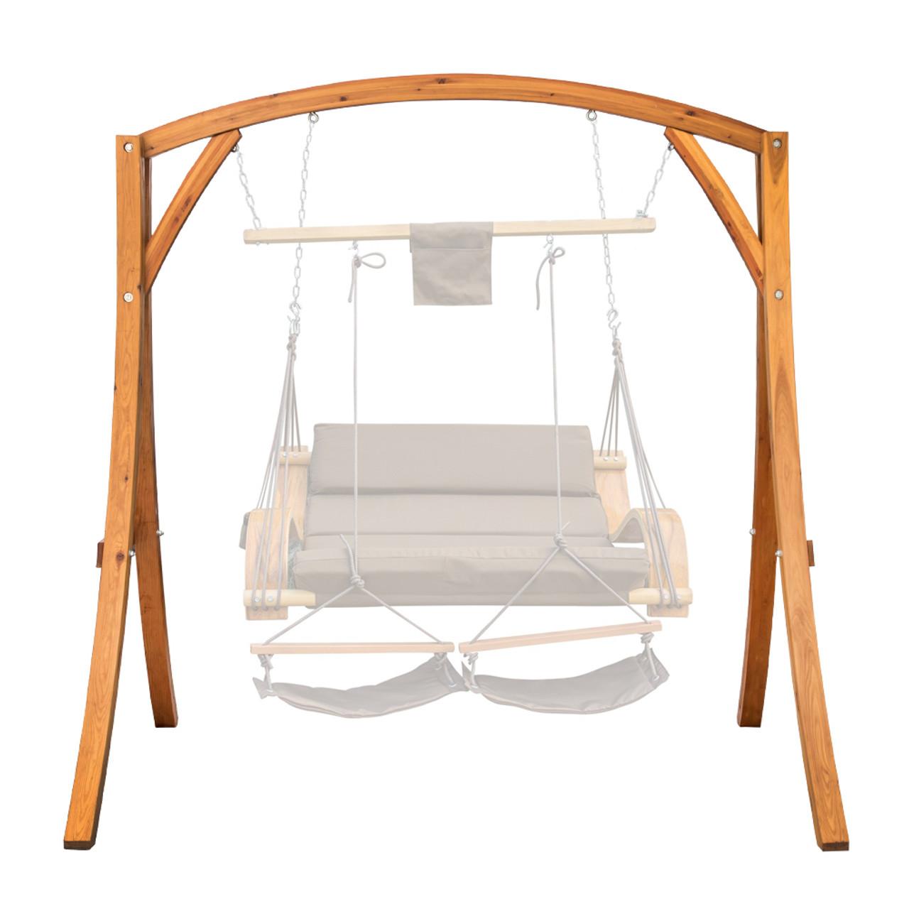swing chair in stand electric lift chairs lazy daze hammocks deluxe wooden arc frame hammock heavy duty russian pine hardwood