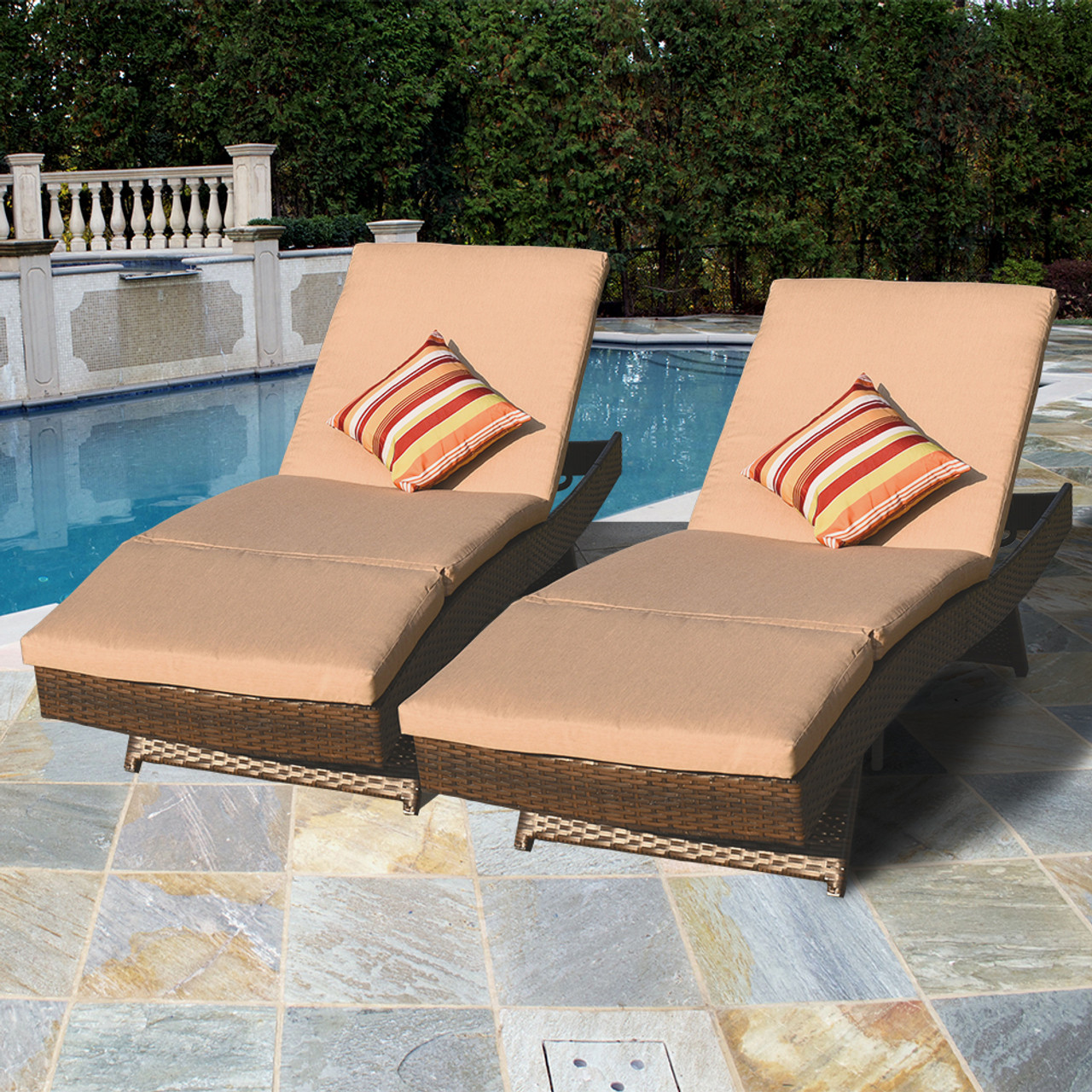 wicker chaise lounge chairs outdoor yellow patio luxury reclining brown chair yard sundale 2pcs deluxe adjustable set with cushions and 2 throw pillows
