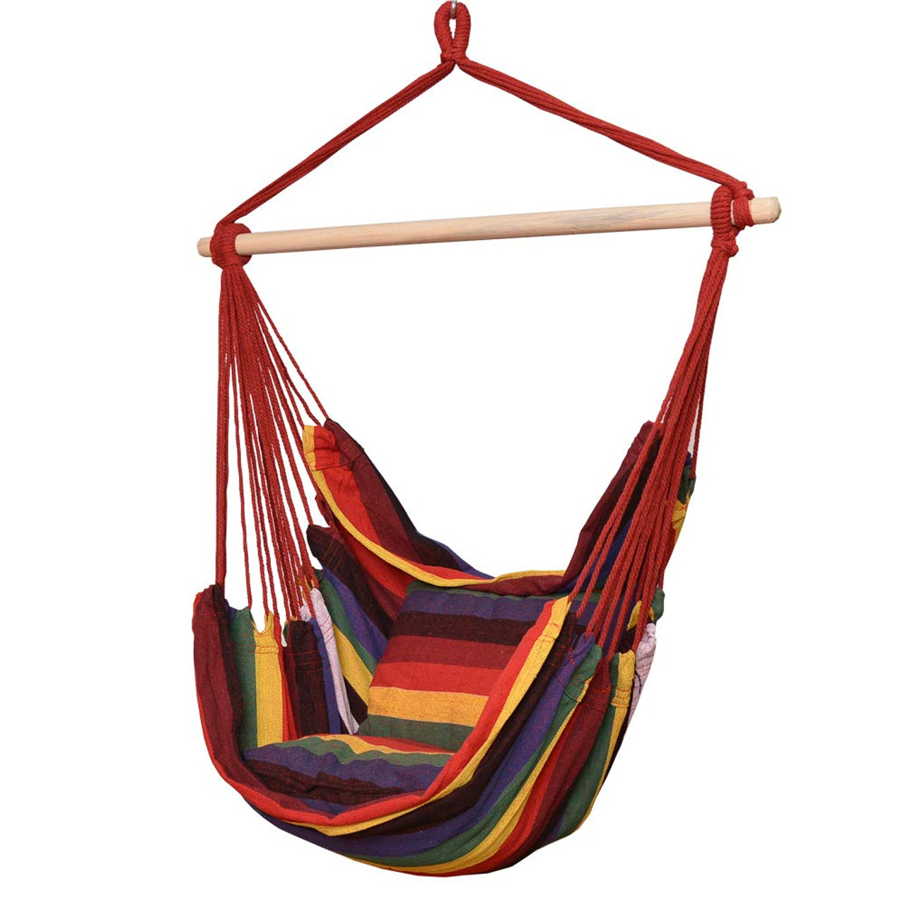 Toucan Outdoor Hanging Rope Chair Hammock Swing Chair With Pillow Set Rainbow