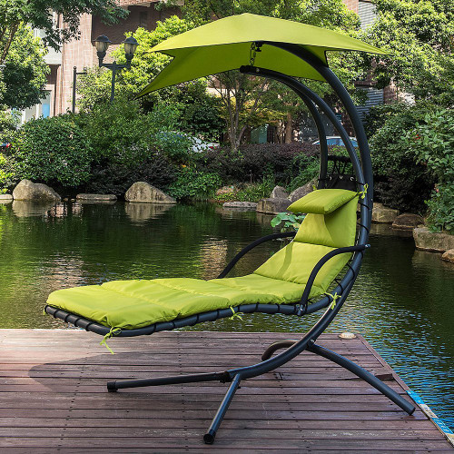 hanging hammock lounge chair covers hire dream apple green lazy daze hammocks with umbrella chaise arc curved
