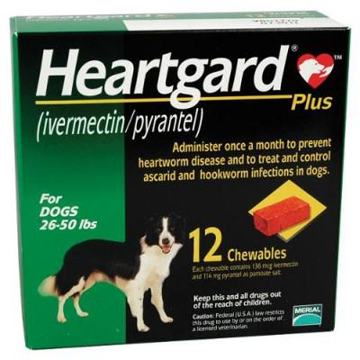 Heartgard Plus Chewables for Dogs 26-50 lbs (12-22 kg) - Green 12 Chews   Sierra Pet Meds