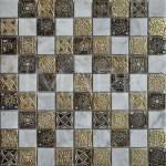 Roman Pattern Gold Foil Resin Carrara White Marble Tile Mosaic