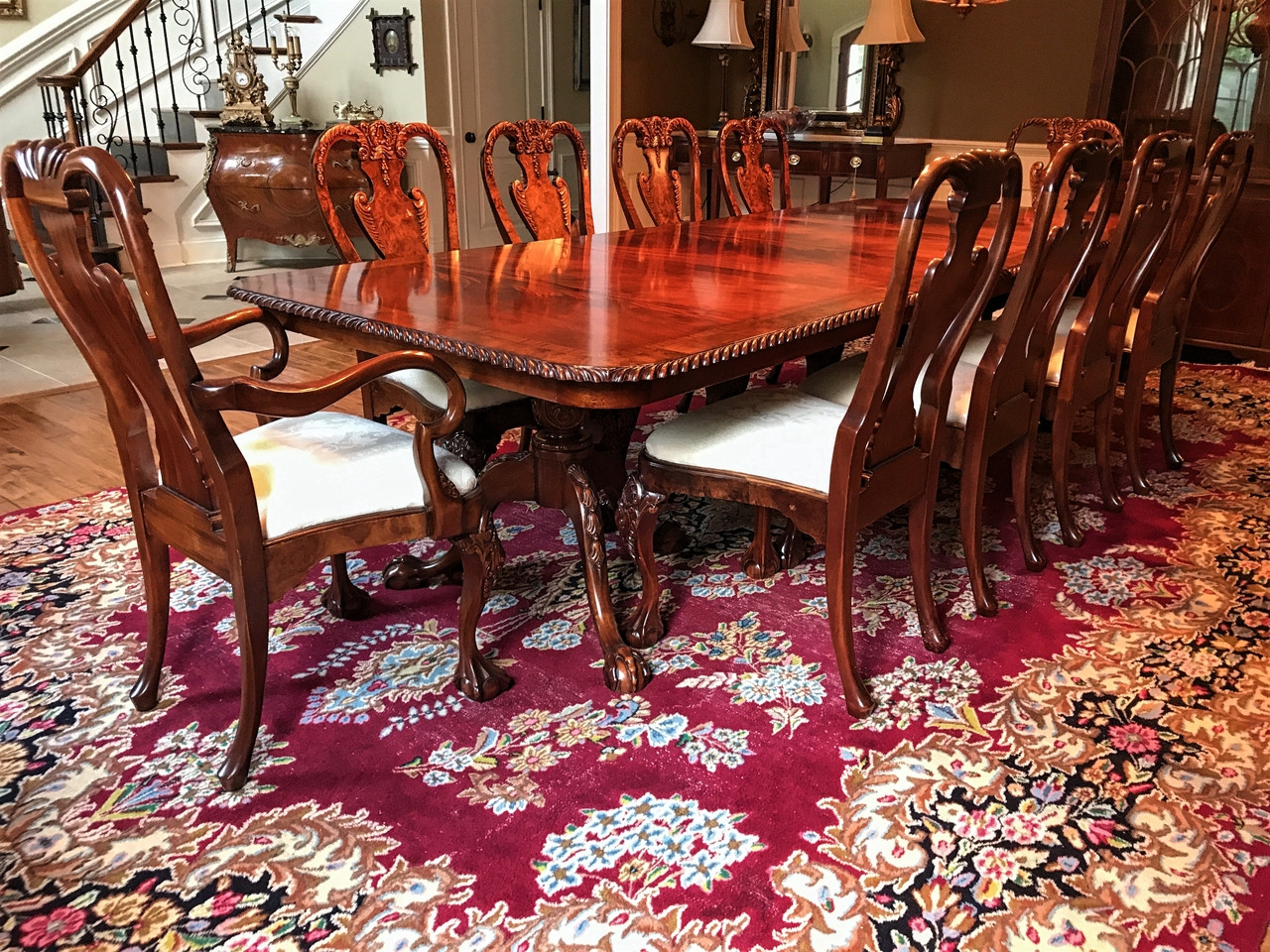 10 chair dining table set pink bean bag chairs sold out georgian style flame mahogany ball claw