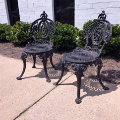 Iron Outdoor Chairs Corner For Sale Sold Out Adams Navillus Antique Cast Garden Set Of 2