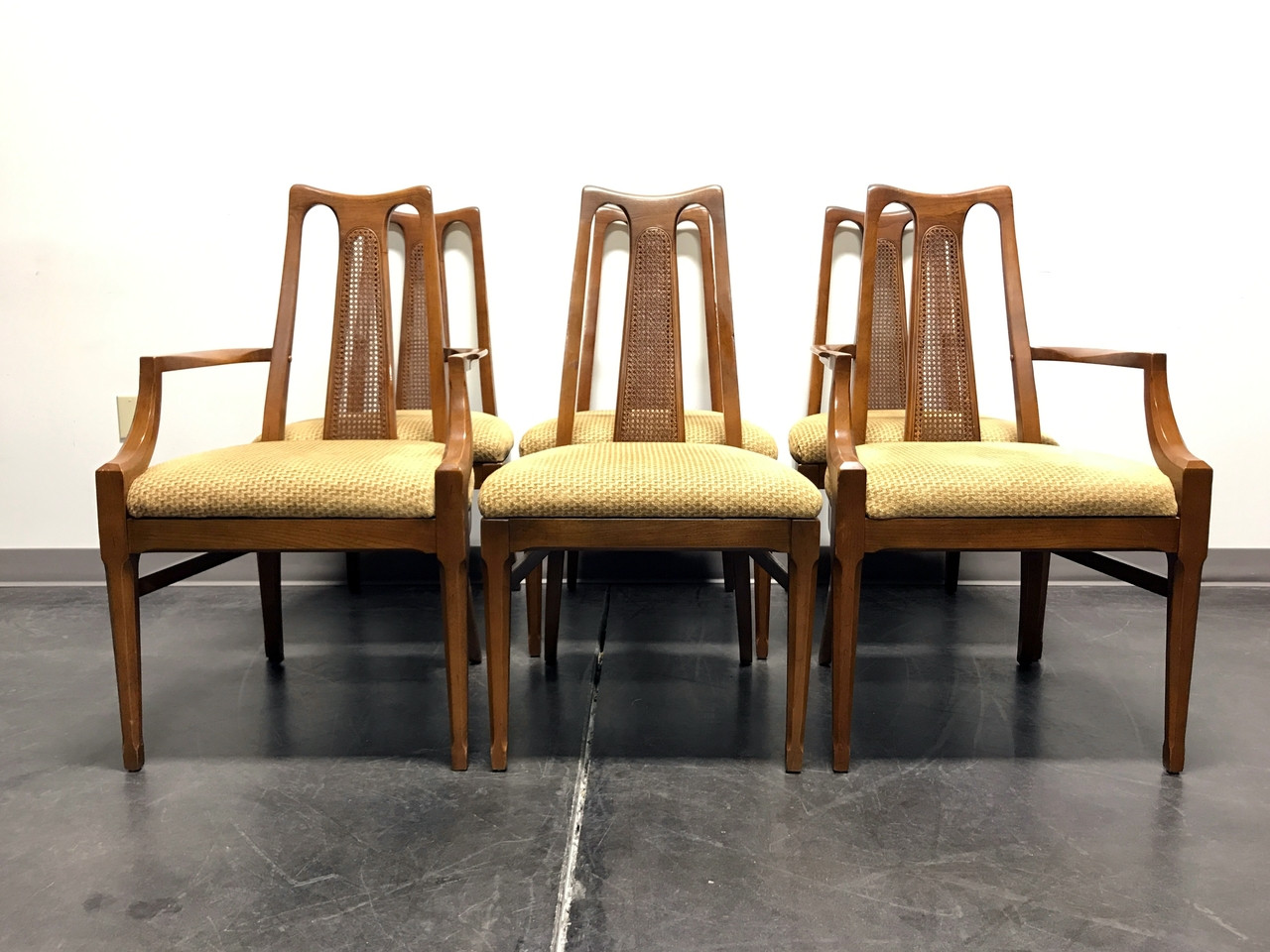 Dining Chair Set Of 6 White Furniture Co Mid Century Modern Walnut Cane Dining Chairs Set Of 6