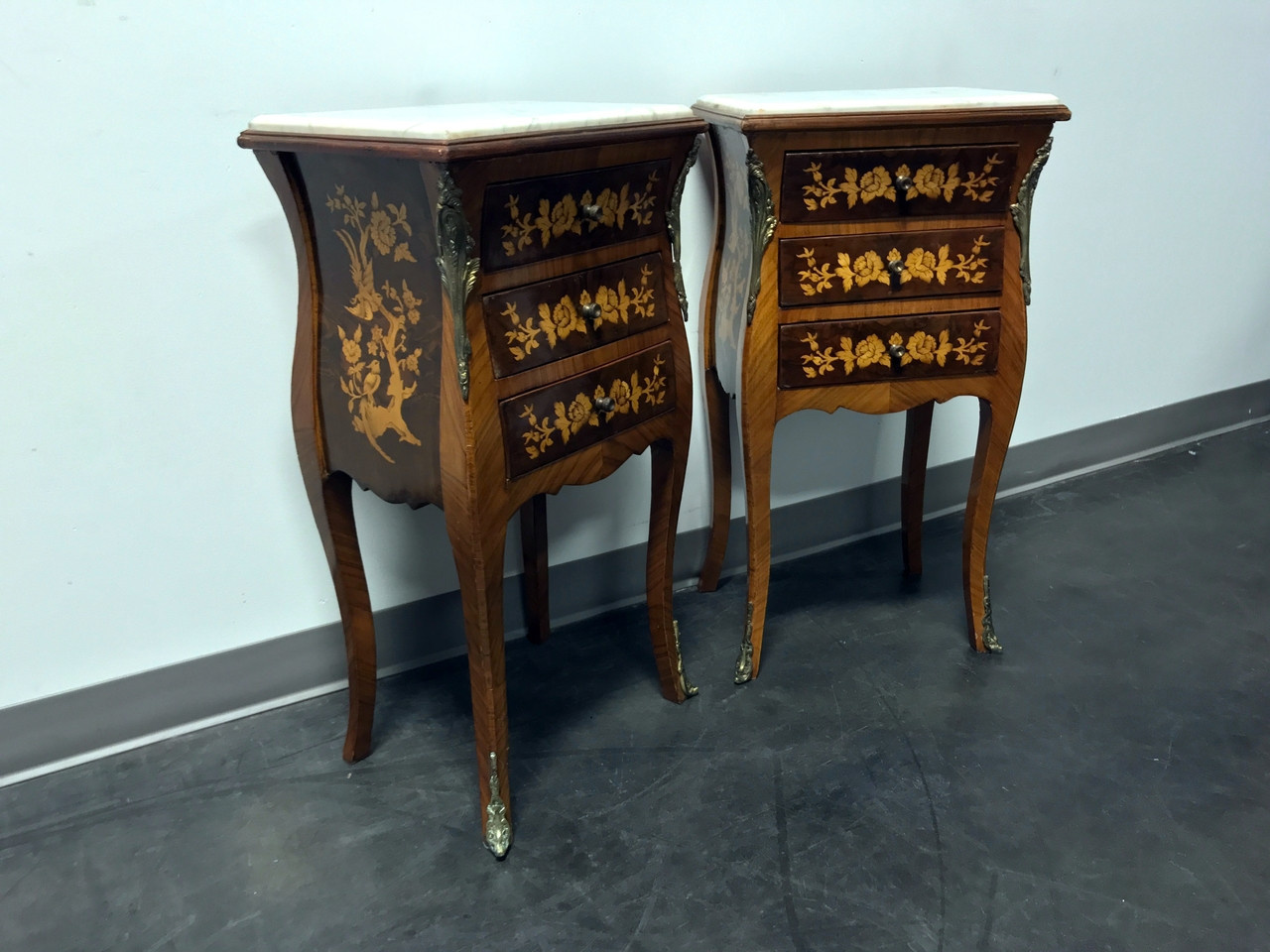 Sold Out Petite French Provincial Louis Xv Style Marquetry Inlaid Marble Top Nightstands Pair