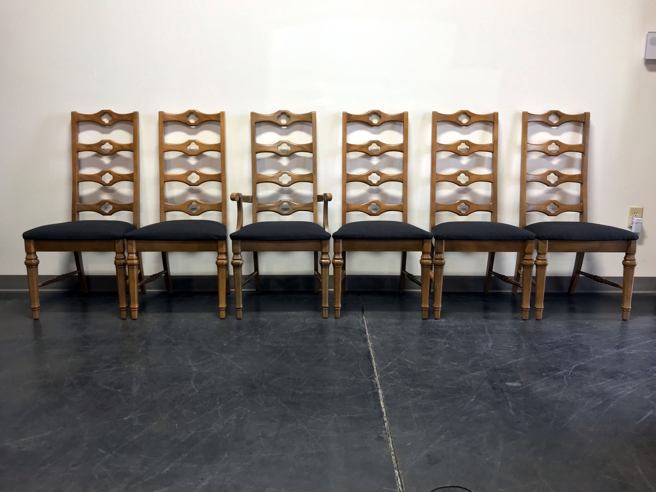 ladder back dining chairs batman table and 1960 s cottage style by stanley set of 6