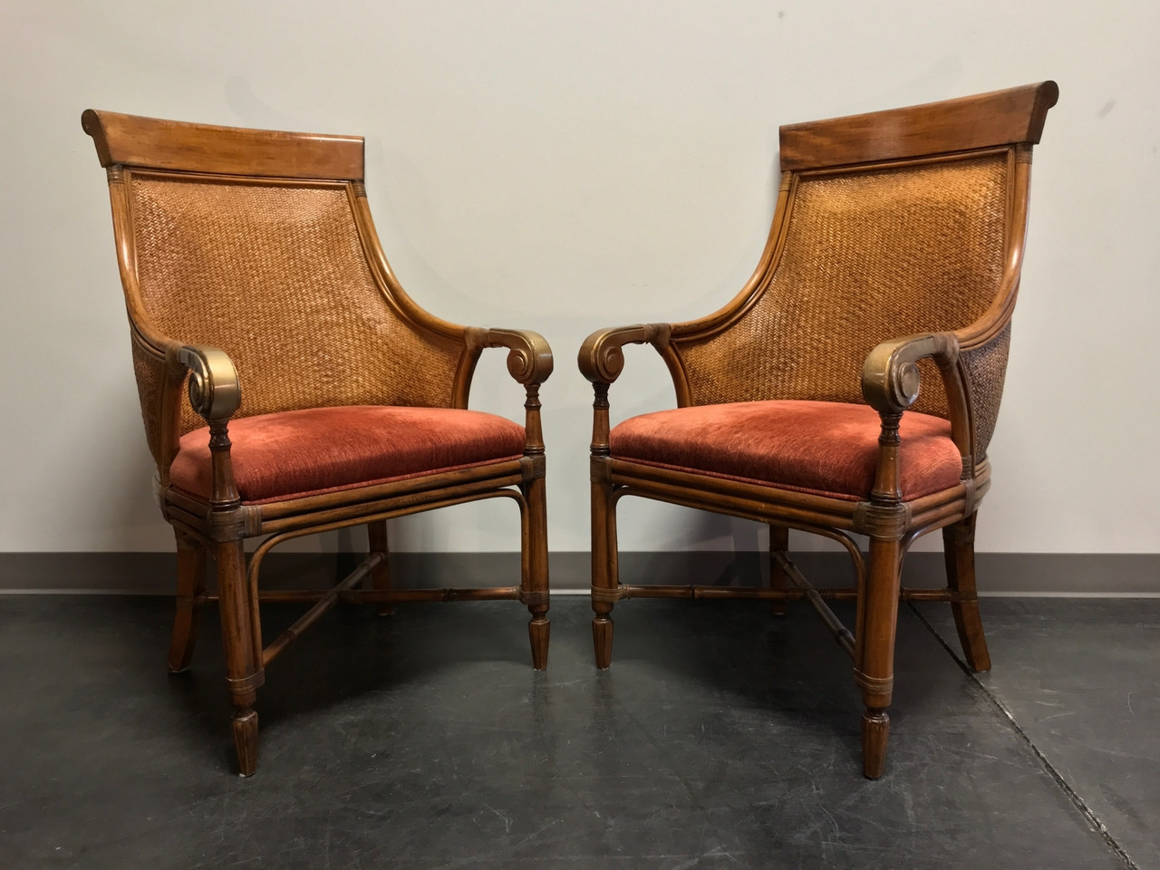 drexel heritage chairs chair design bamboo rattan club pair boyd s fine