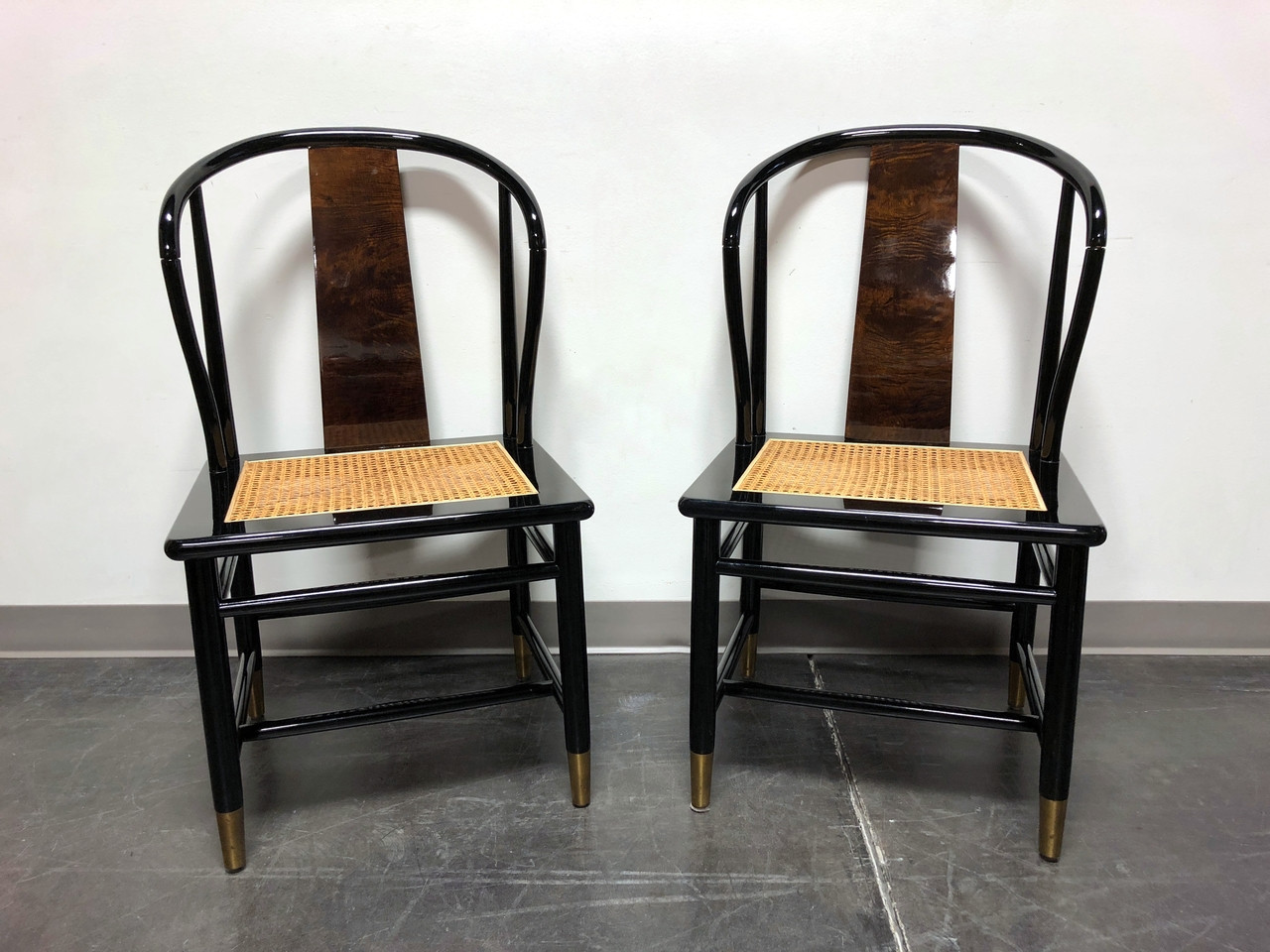 Henredon Chair Sold Out Henredon Asian Chinoiserie Black Lacquer Cane Seat Dining Chairs Pair