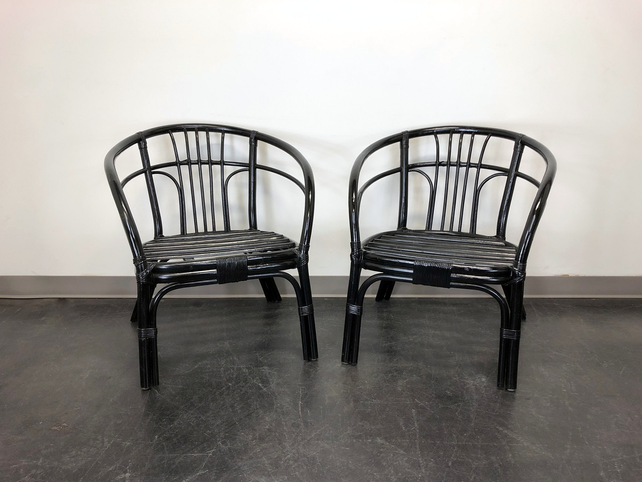 Bamboo Chairs Black Rattan Faux Bamboo Chairs Pair