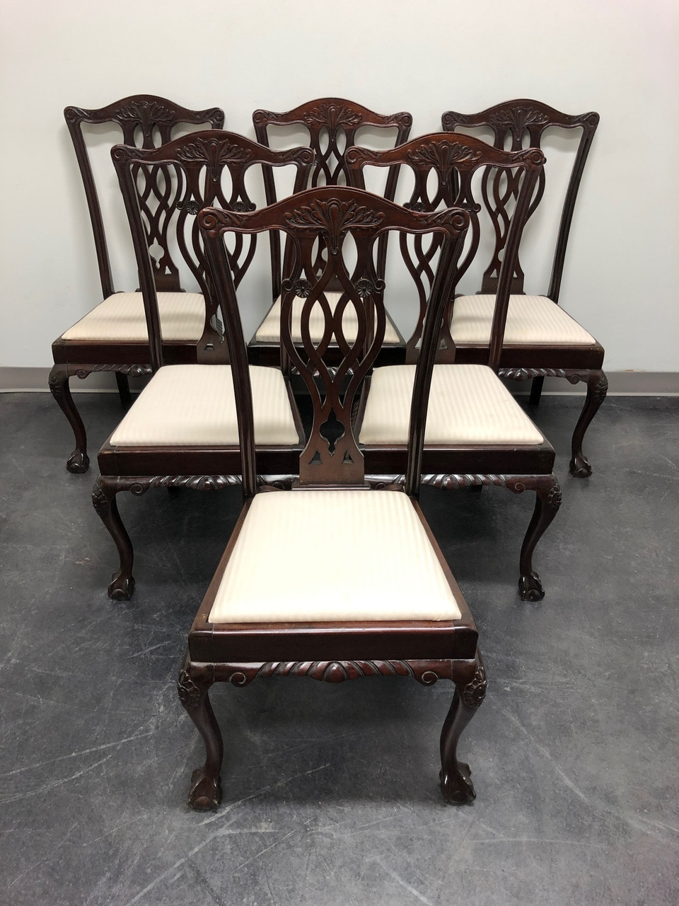 Dining Chair Set Of 6 19th Century English Mahogany Chippendale Ball In Claw Dining Chairs Set Of 6