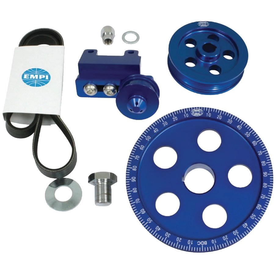 empi 18 1070 serpentine belt blue pulley system for air cooled vw engines [ 1280 x 1280 Pixel ]