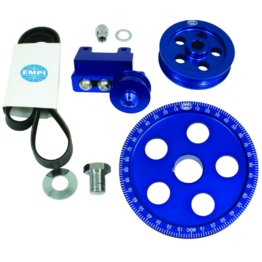 hight resolution of empi 18 1070 serpentine belt blue pulley system for air cooled vw engines