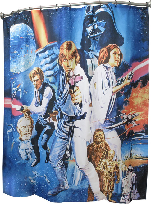 star wars new hope poster shower curtain
