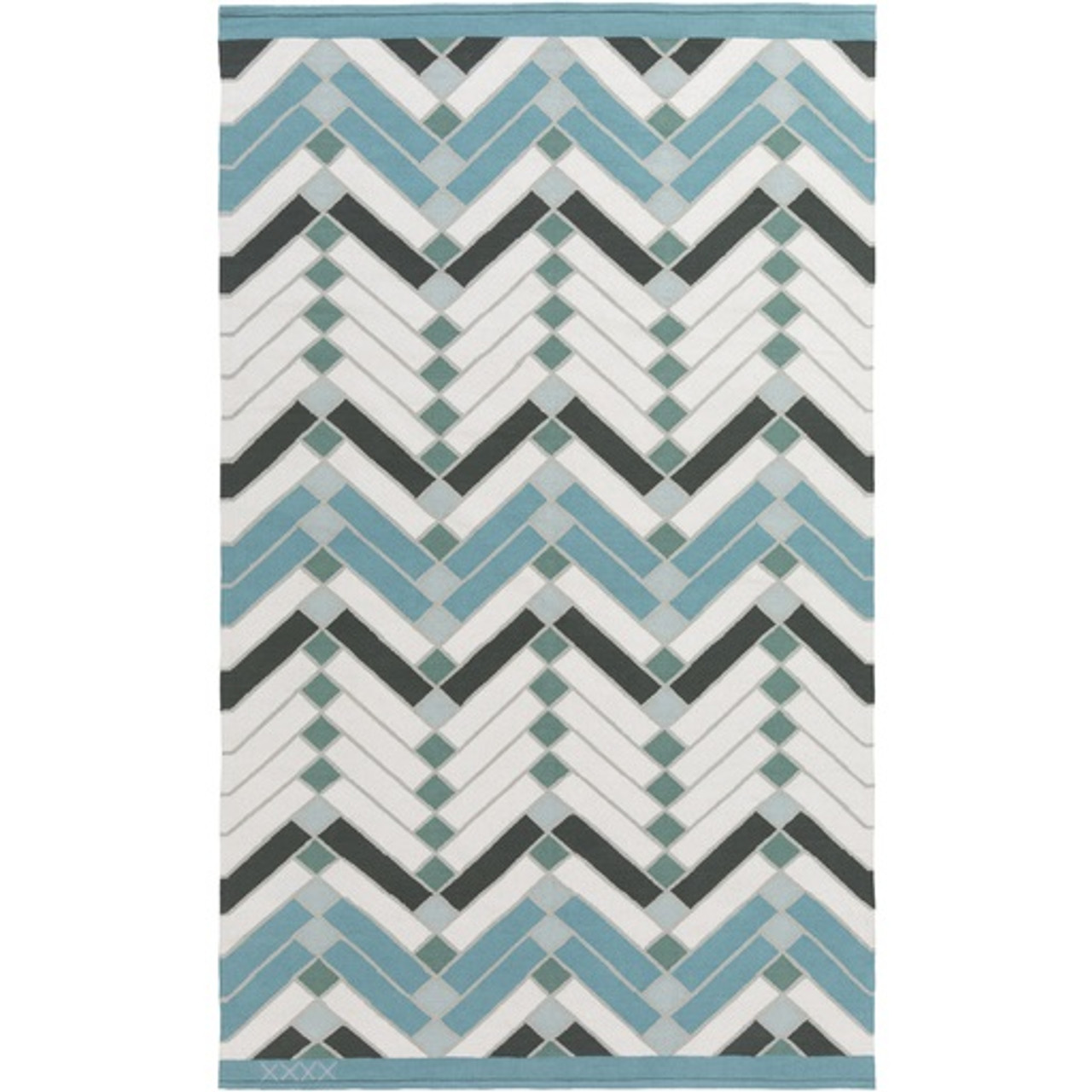 4 X 6 Domestic Energies Forest Green Baby Blue Ivory White Area Throw Rug Christmas Central