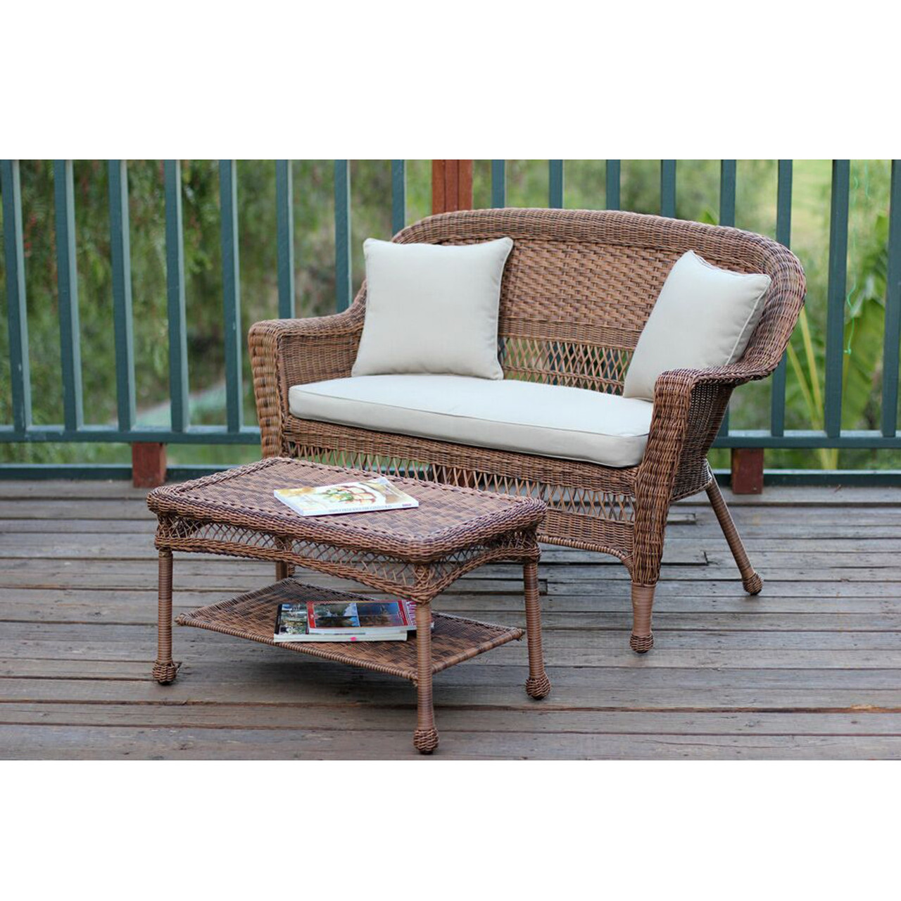 2 piece oswald honey resin wicker patio loveseat and coffee table set tan cushion 51