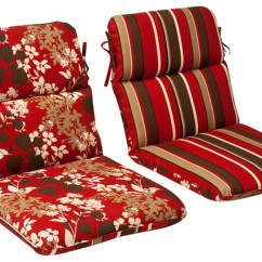 Patio Chair Pads Knoll Desk Parts Outdoor Furniture High Back Cushion Reversible Tropical Red Stripe 13366669
