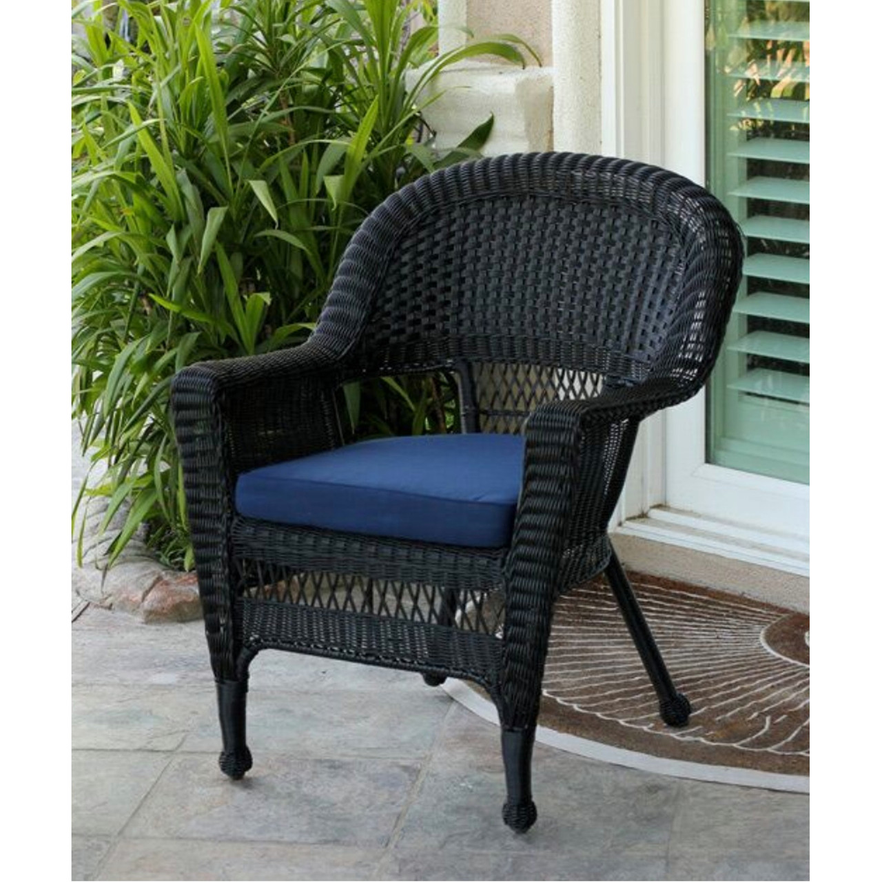 comfortable wicker chairs chair cover aliexpress 36 black resin outdoor patio garden with navy blue cc living