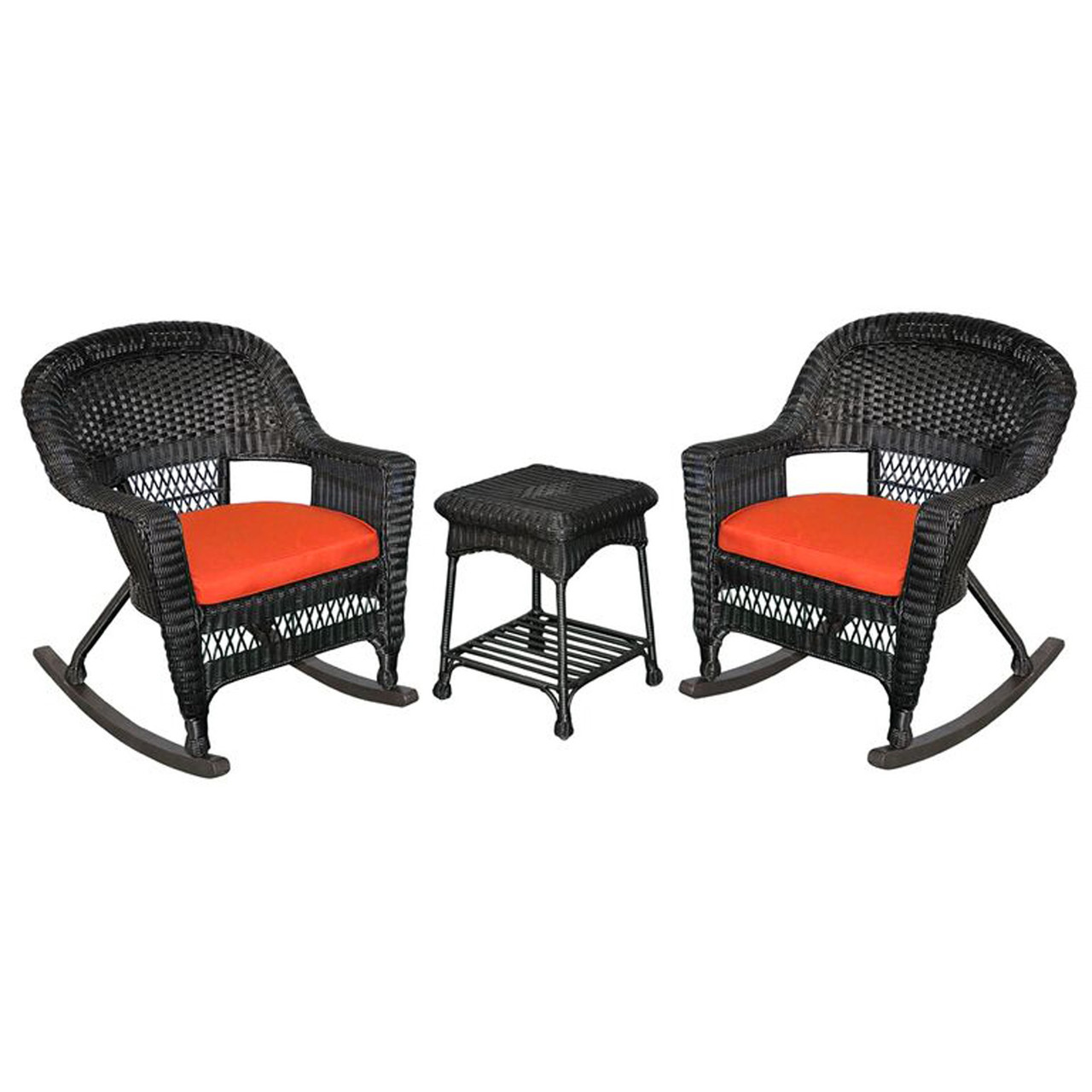 Black Wicker Rocking Chairs 3 Piece Tiana Black Resin Wicker Patio Rocker Chair Table Furniture Set Red Cushions 31556427