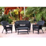 4 Piece Black Wicker Patio Chair Loveseat Table Furniture Set Black Cushions 51 Christmas Central