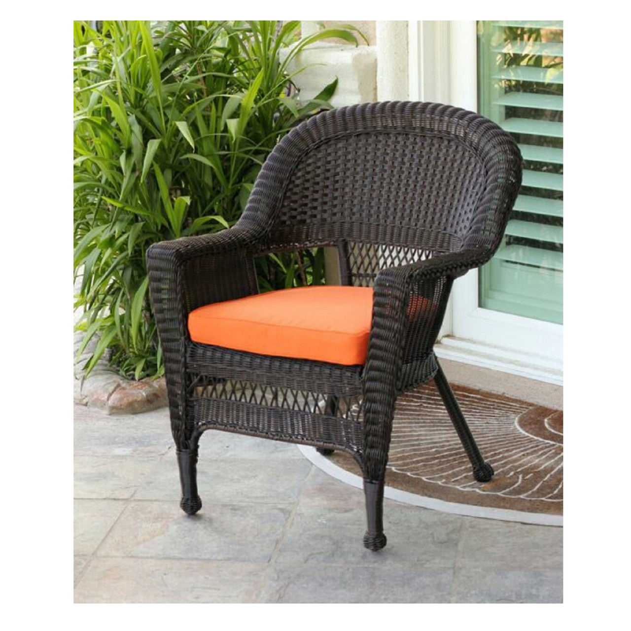 comfortable wicker chairs chair design through history 36 espresso brown resin outdoor patio garden orange cc living
