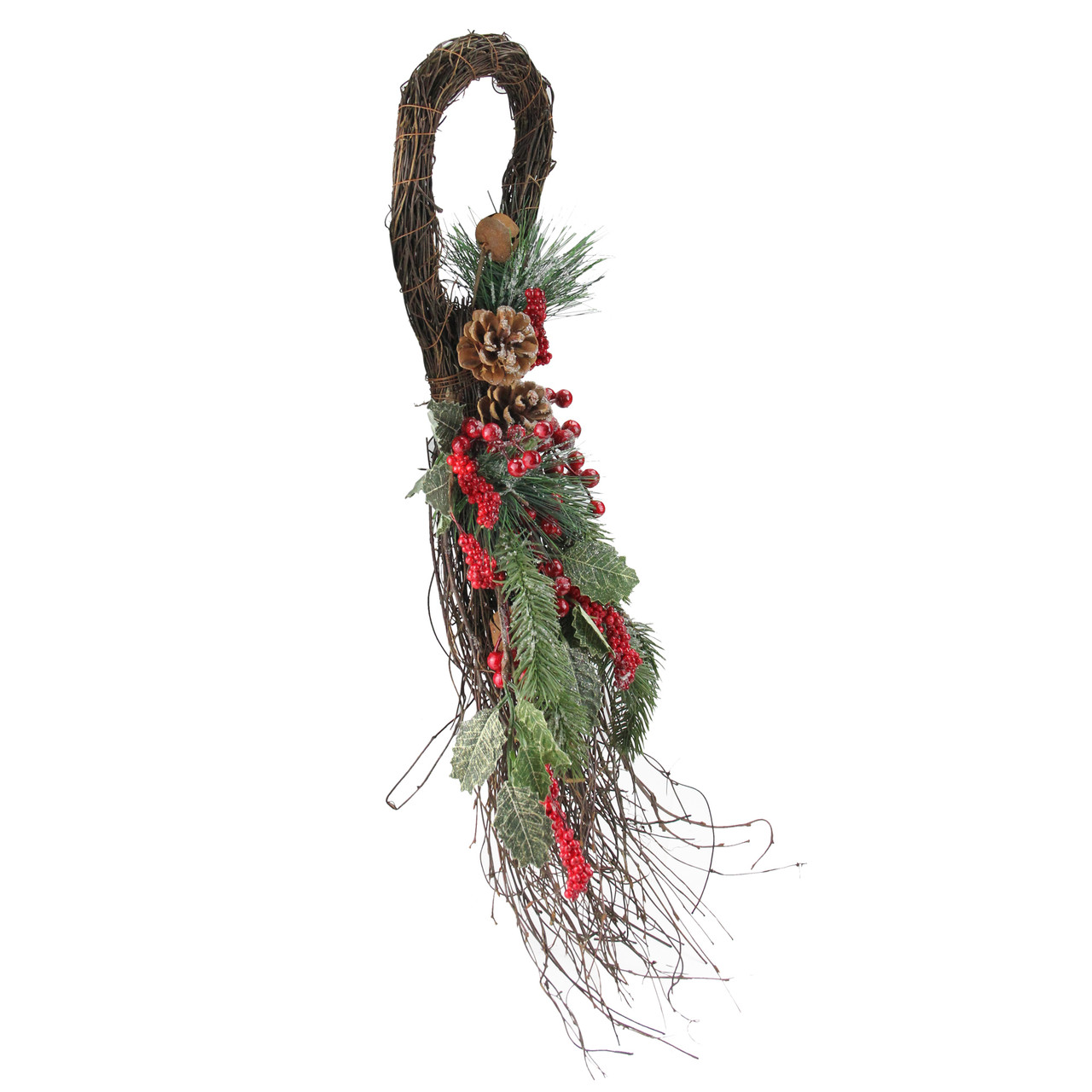 """24"""" Frosted Berries, Pine Cones, and Evergreen Sprigs Artificial Christmas  Teardrop Swag -"""