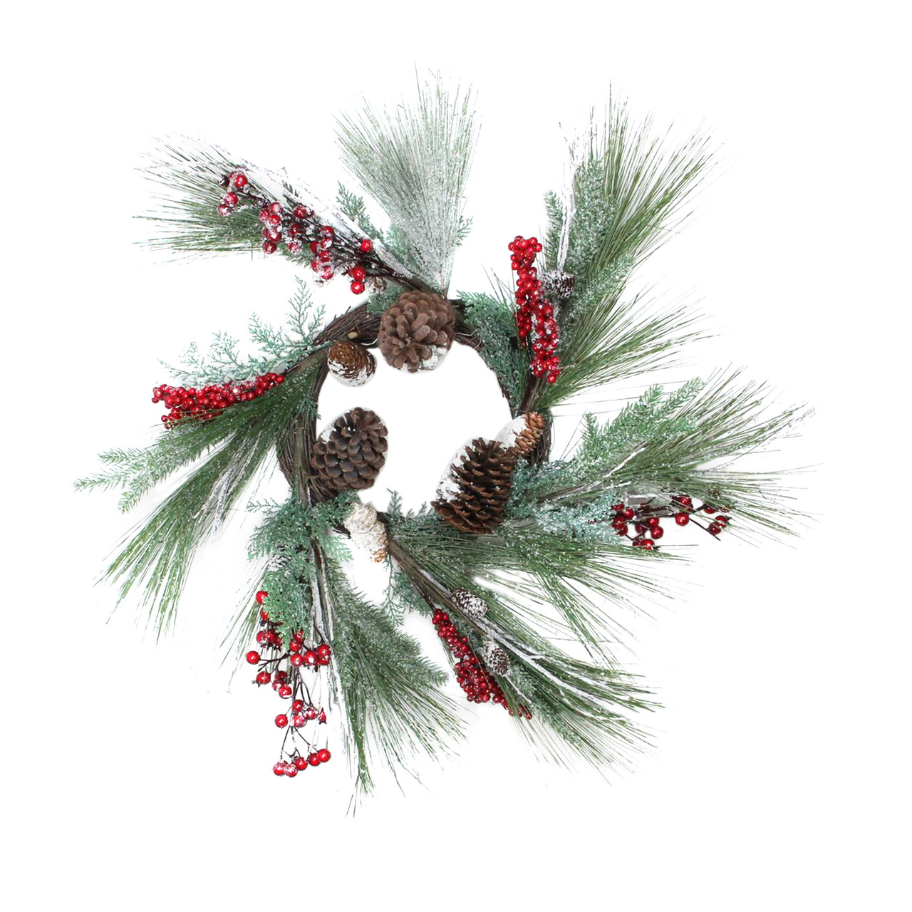 """32"""" Festive Red Berries, Pine Cones and Green Pine Sprigs Artificial  Christmas Wreath -"""