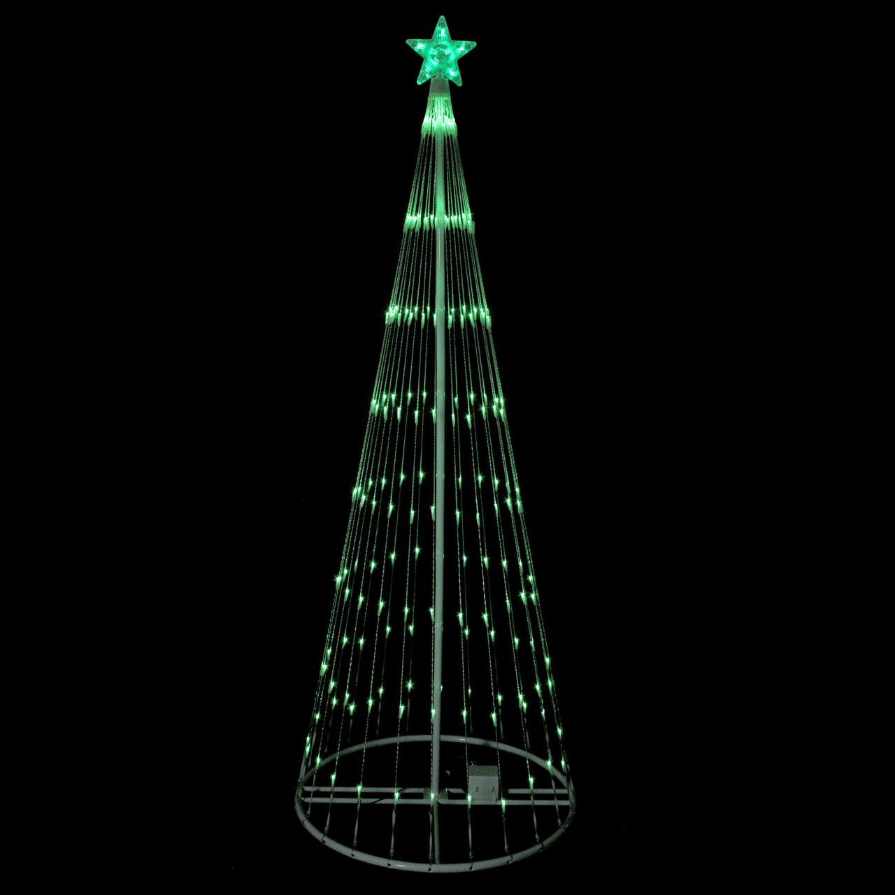 9 green led lighted christmas tree show cone outdoor decor