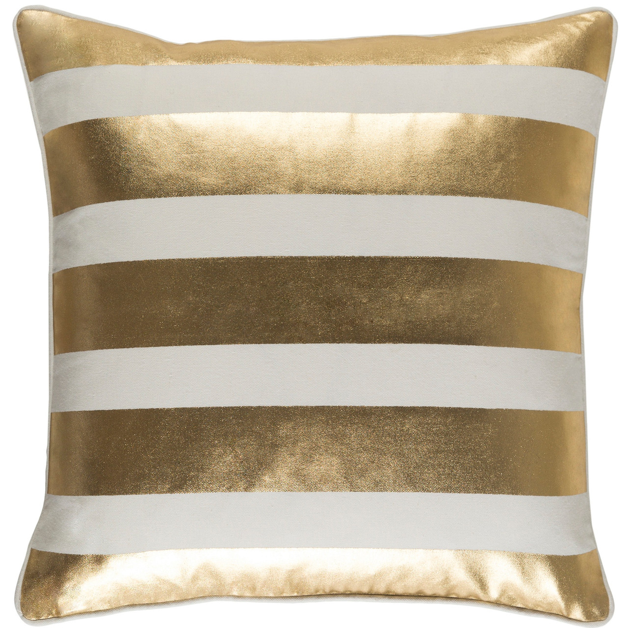 18 metallic gold and beige foil printed stripe design square throw pillow cover