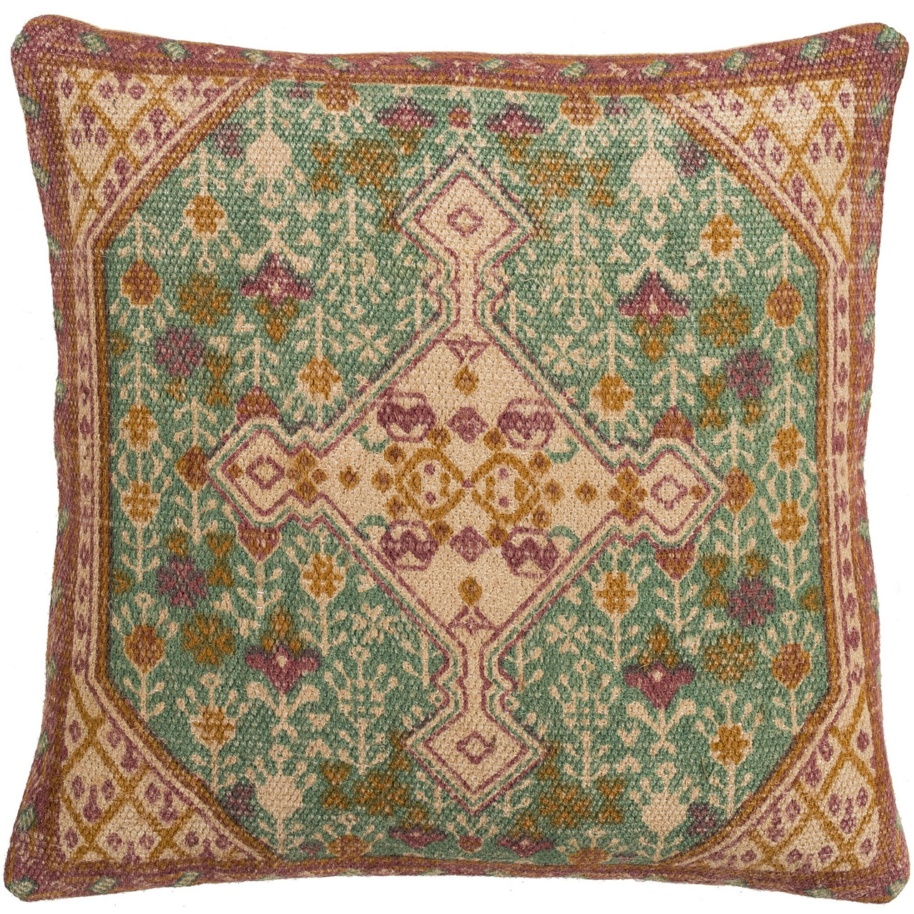 20 beige and teal green oriental medallion pattern square throw pillow cover with knife edge