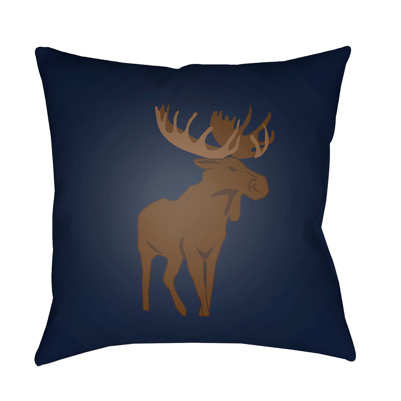 20 brown and navy blue moose printed square throw pillow cover