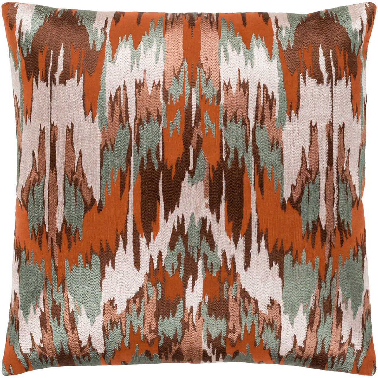 20 green and orange embroidered square throw pillow cover