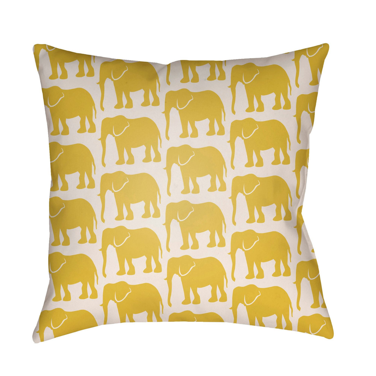 16 white and yellow elephants printed square throw pillow cover