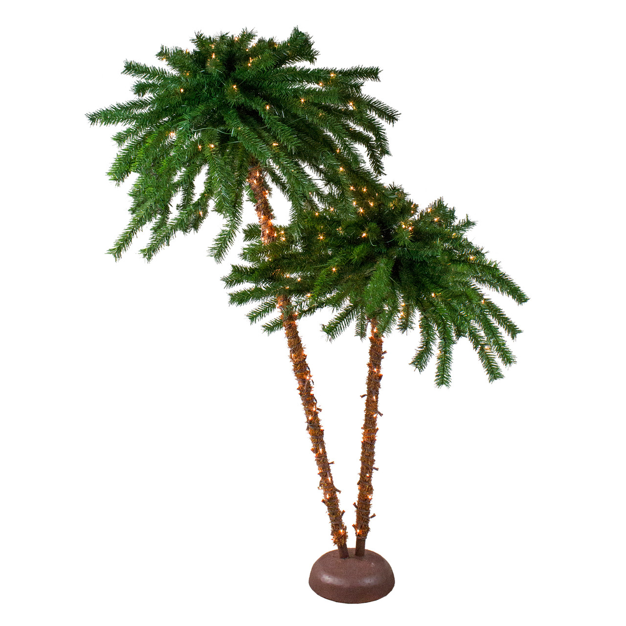 6 pre lit dual artificial tropical outdoor patio palm trees clear lights