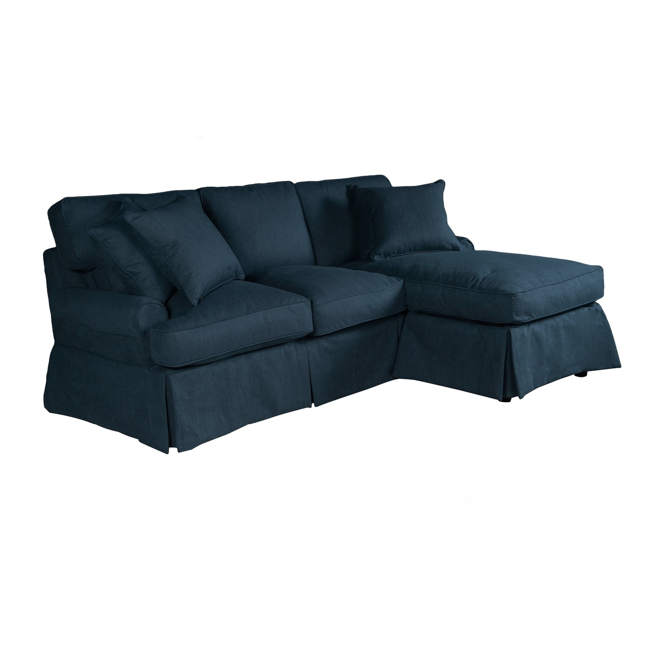 85 performance fabric navy blue slipcover for t cushion sectional sofa with chaise