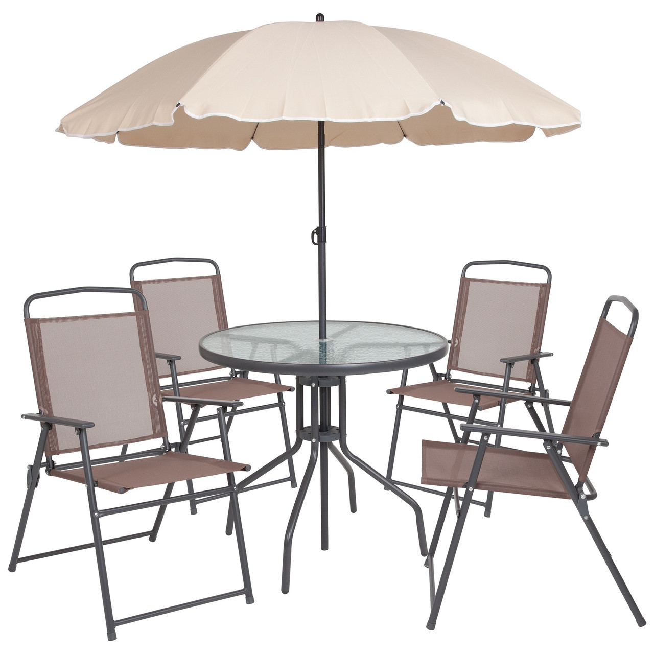 6 piece brown and gray contemporary round outdoor furniture patio table set 80