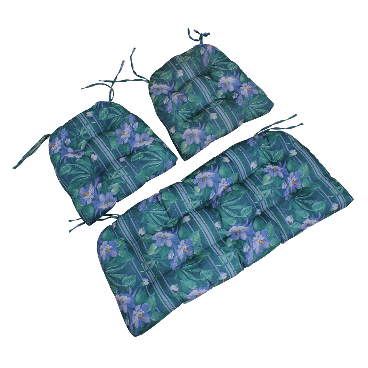 3pc blue and green floral tufted wicker furniture outdoor patio cushions 41