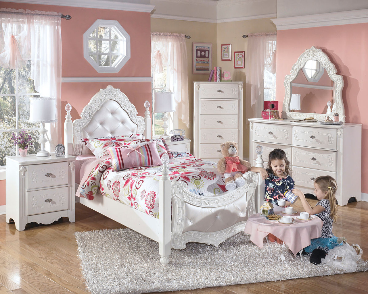 The Exquisite White 7 Pc Twin Kids Bedroom Collection Available At 5 Star Furniture Serving Houston Tx And Surrounding Areas