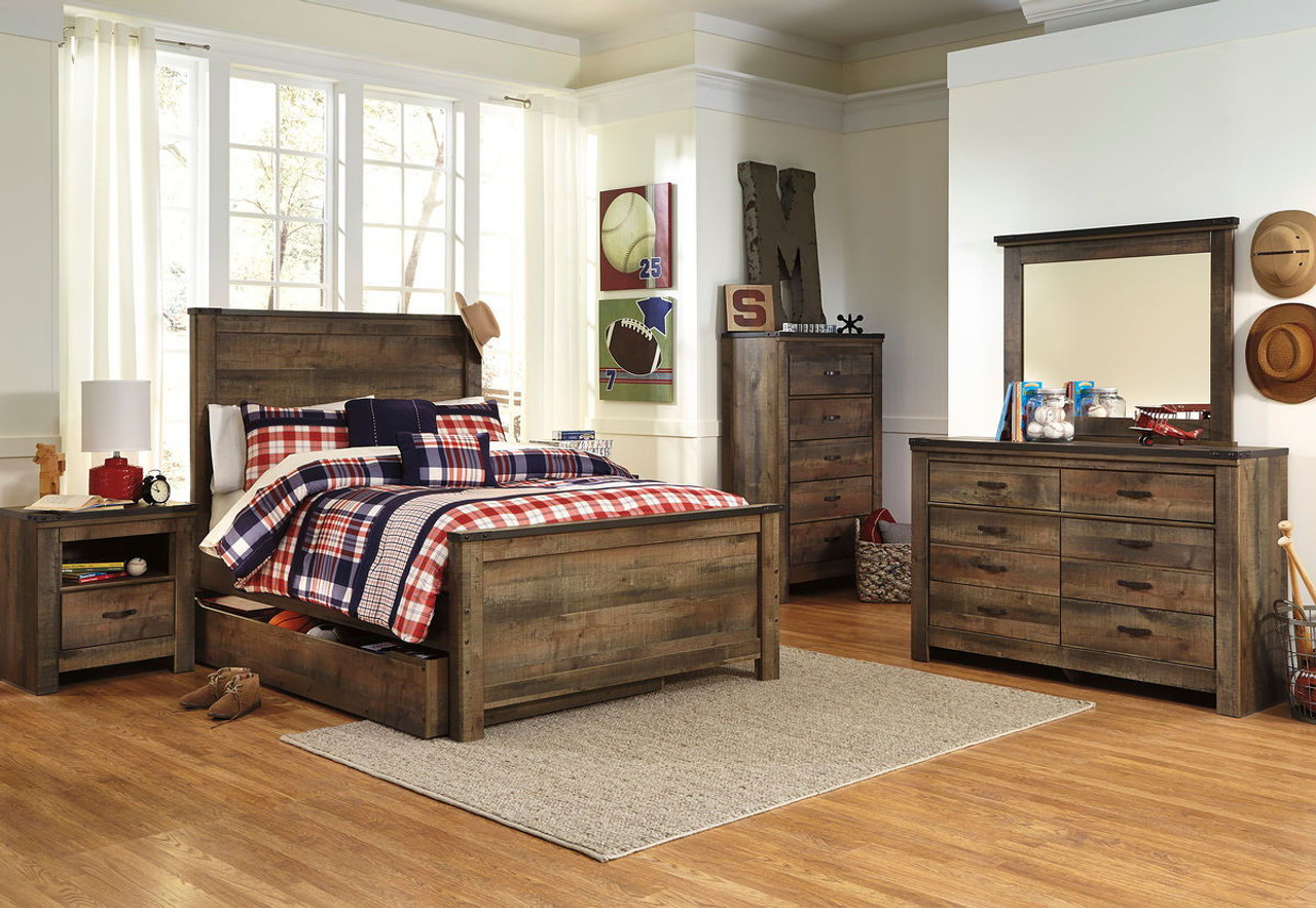 The Trinell Brown 10 Pc Dresser Mirror Chest Full Panel Bed With Trundle Storage Box 2 Nightstands Available At 5 Star Furniture Serving Houston Tx And Surrounding Areas