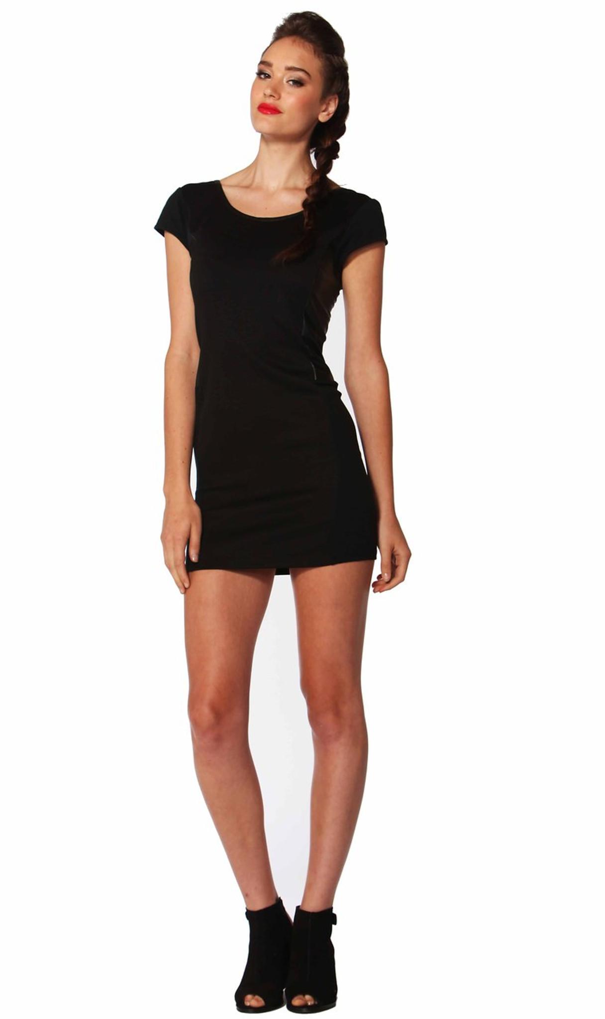 spliced body con dress