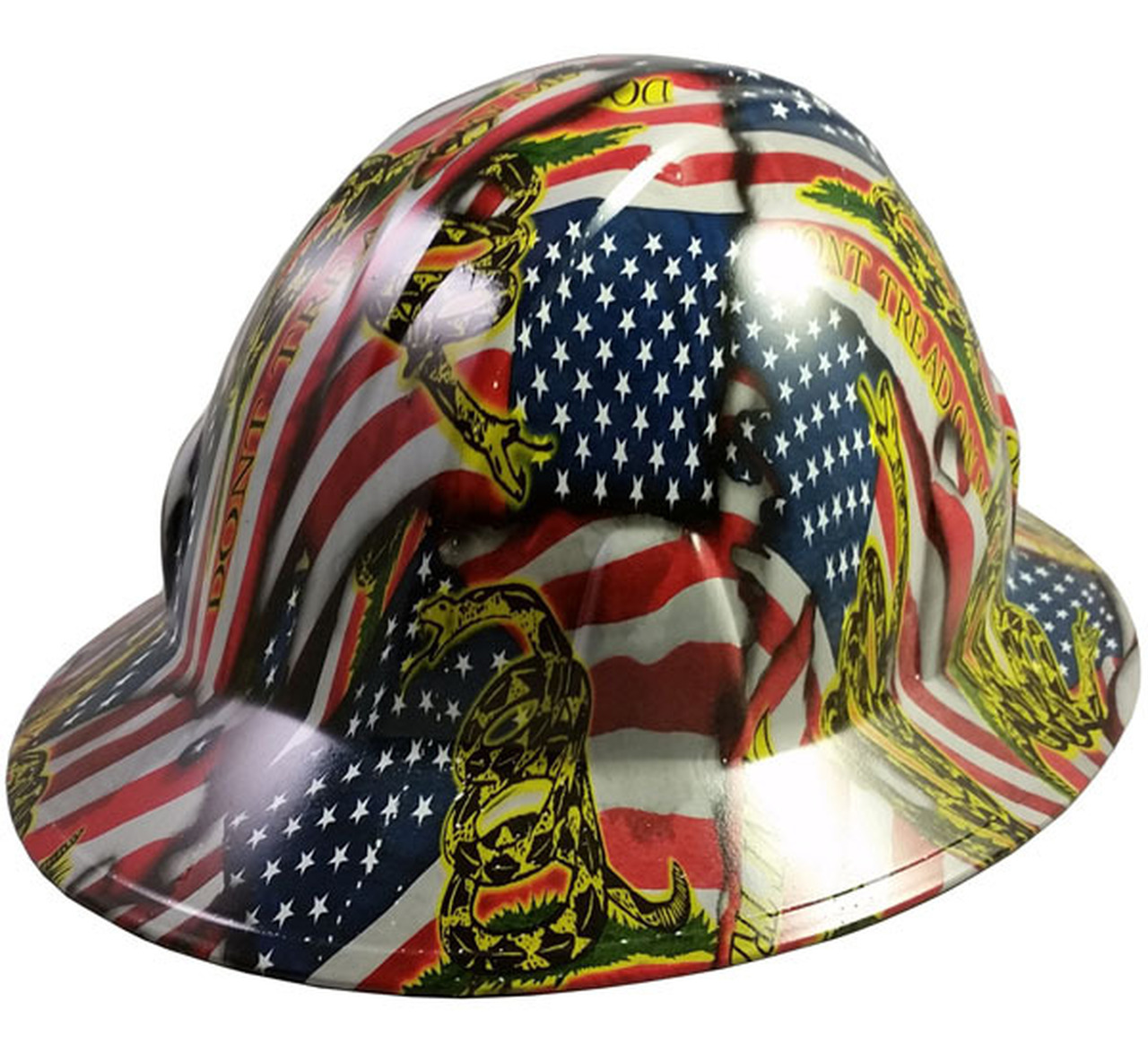 hydrographic full brim hard hat ratchet suspension don t tread on me us flag