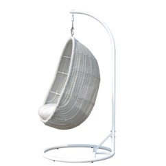 Cane Hanging Chair New Zealand Office Japan Zoe Outdoor Wicker Egg For Sale In Auckland Nz Soft Grey Sunbrella Premium Natte White Cushions