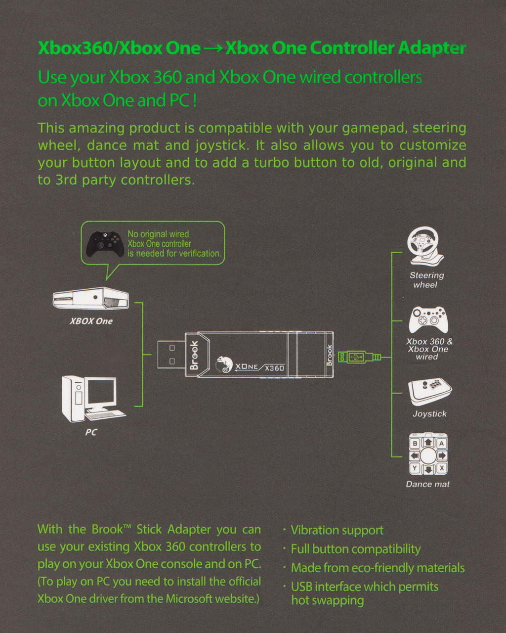small resolution of  xbox360 to xboxone controller converter adapter x1 bk brook