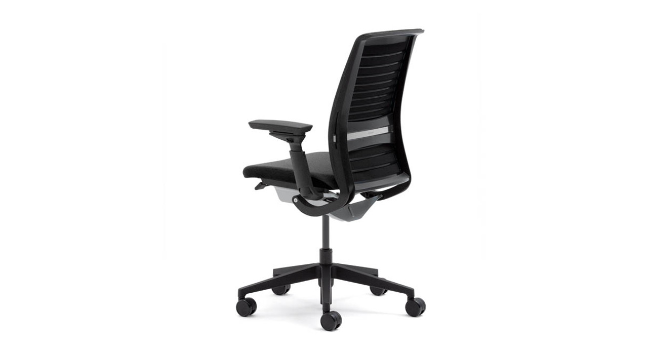 steelcase chair exercise ball office pros cons think uplift desk comfort dial back control provides four settings for the user s personal preference and work style