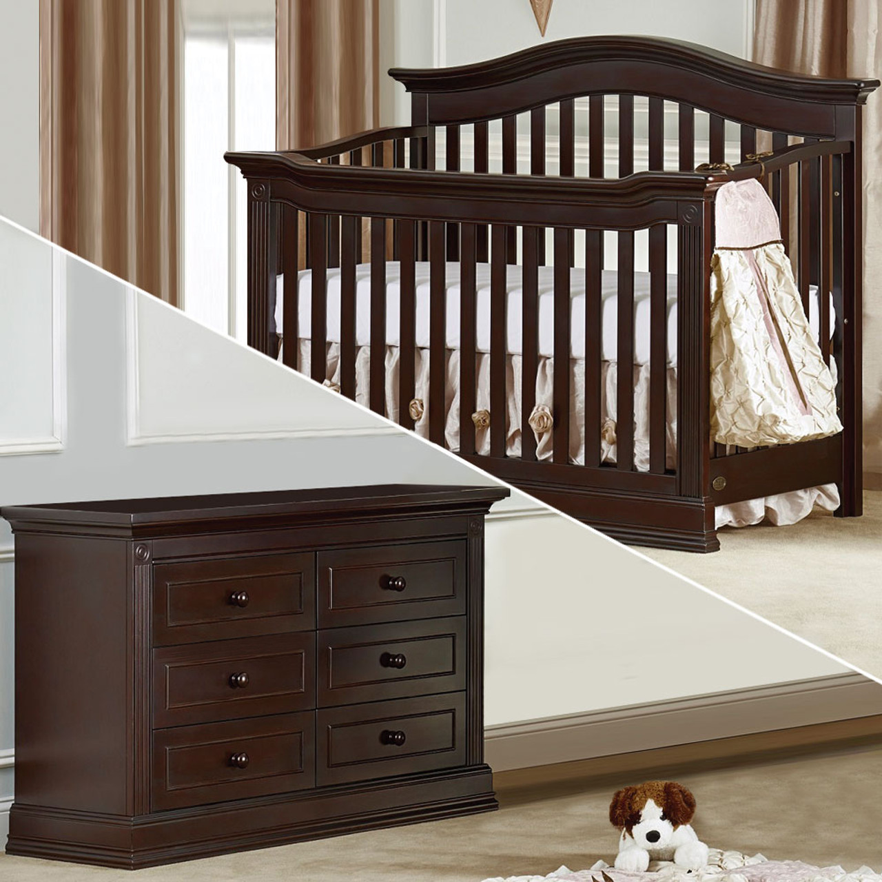 Like regular dressers, nursery dressers give you space to hold your baby's clothing and other belongings. baby cache by heritage montana 2 piece nursery set in espresso 6dr dresser and crib