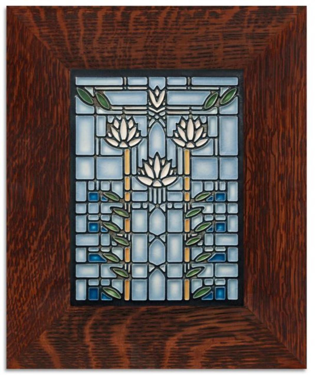 framed 6x8 waterlilies light blue motawi tile