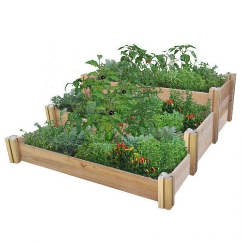 Multi Level Rustic Raised Garden Bed 48x50x19 Gronomics