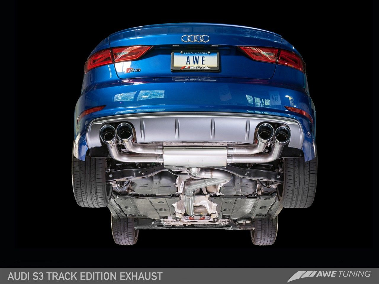 no longer available awe tuning track edition exhaust for 2015 16 audi s3 sedan 2 0t 8v 3020 42036
